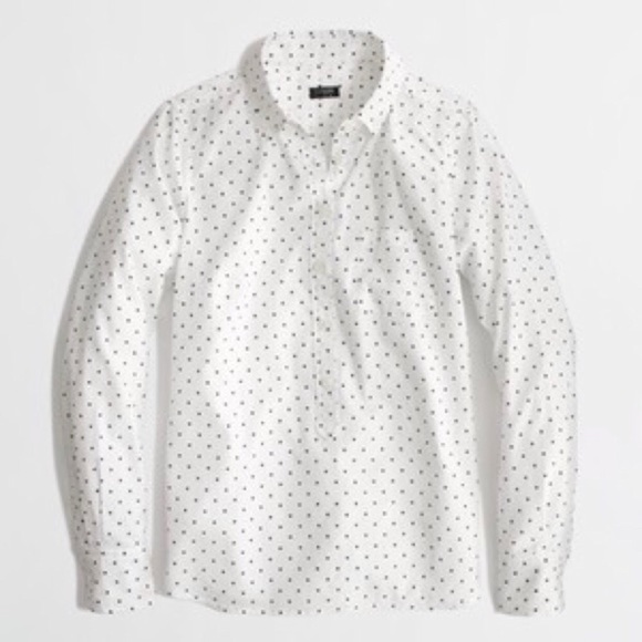 J. Crew Factory Tops - J. Crew Factory Voile Polka Dot Popover Shirt L